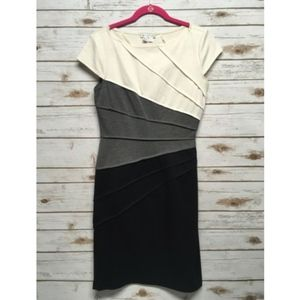 London Times Short Sleeve Color Block Sheath Dress